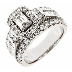 2.95 ct. t.w. Emerald-Cut Diamond Bridal Ring in 14K White Gold (I, SI2)