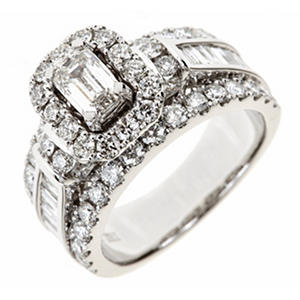 2.95 ct. t.w. Emerald-Cut Diamond Bridal Ring in 14K White Gold I, SI2 (Appraisal Value: $5,420)