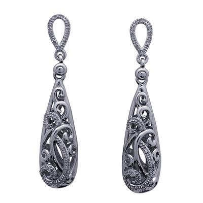 0.10 CT. T.W. Diamond Drop Earrings in 925 Sterling Silver (I, I1)