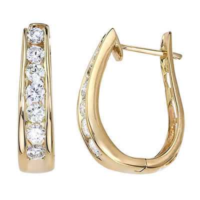 "1.45 CT. T.W. Diamond ""J"" Hoop Earring in 14K Yellow Gold (I, I1)"