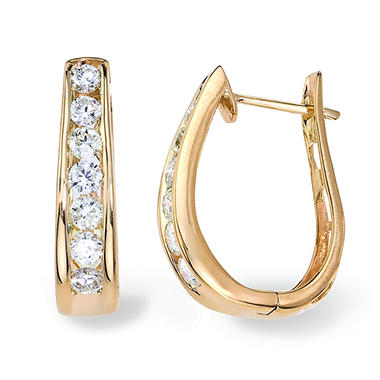 "0.95 CT. T.W. Diamond ""J"" Hoop Earring in 14K Yellow Gold (I, I1)"