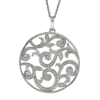 0.12 CT. T.W. Diamond Medallion Pendant in Sterling Silver (I, I1)