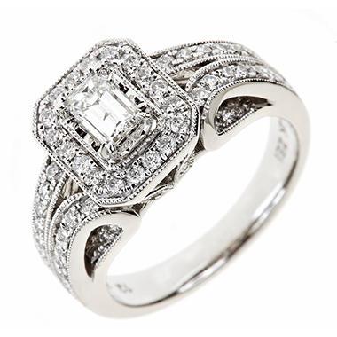 1.20 CT. T.W. Emerald & Round Diamond Ring in 14K White Gold (I, I1)