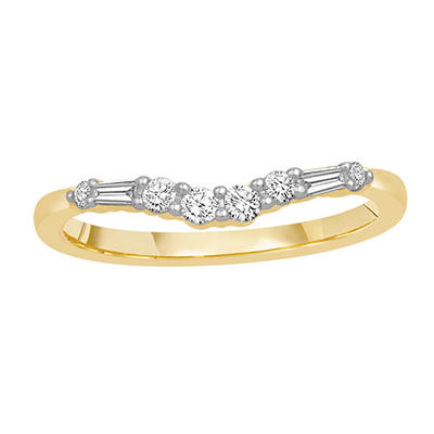 0.25 ct. t.w. 14K Yellow Gold Contour Band with Round and Baguette Diamonds (H-I, I1)