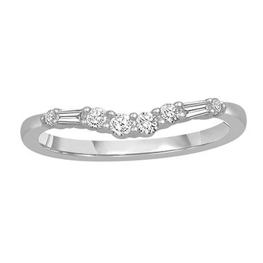 0.25 ct. t.w. 14K White Gold Contour Band with Round and Baguette Diamonds (H-I, I1)