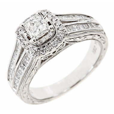 1.20 CT. T.W. Cushion, Round and Princess Diamond Ring in 14K White Gold (I, I1)