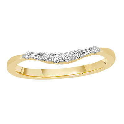 0.15 ct. t.w. 14K Yellow Gold Contour Band with Round and Baguette Diamonds (H-I, I1)
