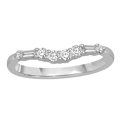0.33 ct. t.w. 14K White Gold Contour Band with Round and Baguette Diamonds (H-I, I1)