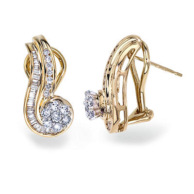 0.75 CT. T.W. Diamond Swirl Earring in 14K Yellow Gold (I, I1)