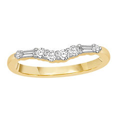 0.33 ct. t.w. 14K Yellow Gold Contour Band with Round and Baguette Diamonds (H-I, I1)