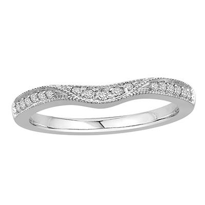 0.15 ct. t.w. Contour Band with Milgrain in 14k White Gold (H-I, I1)