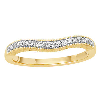 0.15 ct. t.w. 14K Yellow Gold Contour Band with Round Brilliant Diamonds with a Milgrain Finish (H-I, I1)
