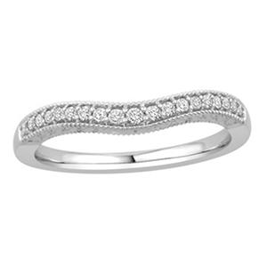 0.15 ct. t.w. 14K White Gold Contour Band with Round Brilliant Diamonds with a Milgrain Finish (H-I, I1)