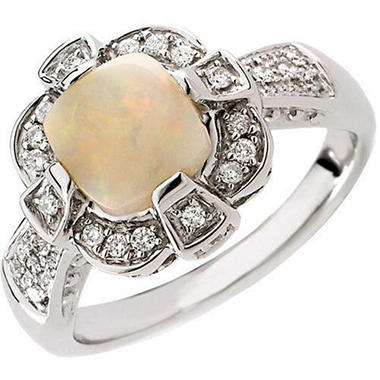 Opal & Diamond 14K White Gold Ring (H, I1)