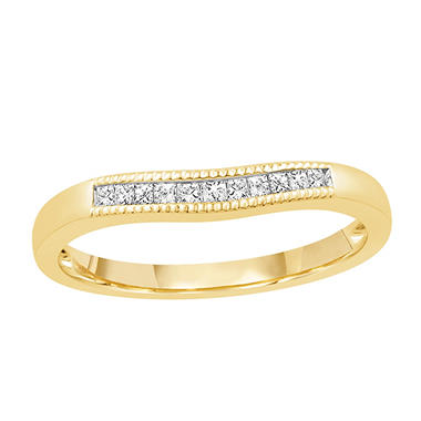 0.15 ct. t.w. 14K Yellow Gold Contour Band with Princess Cut Diamonds with a Milgrain Finish (H-I, I1)