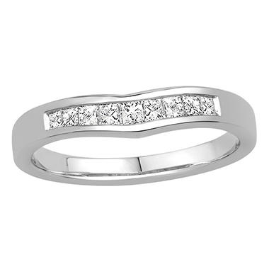 0.25 ct. t.w. 14K White Gold Ring Wrap with Princess Cut Diamond in Invisible Setting (H-I, I1)