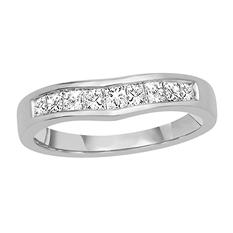 0.50 ct. t.w. 14K White Gold Ring Wrap with Princess Cut Diamond in Invisible Setting (H-I, I1)