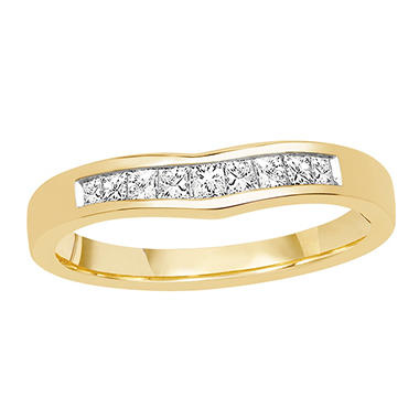0.25 ct. t.w. 14K Yellow Gold Ring Wrap with Princess Cut Diamond in Invisible Setting (H-I, I1)