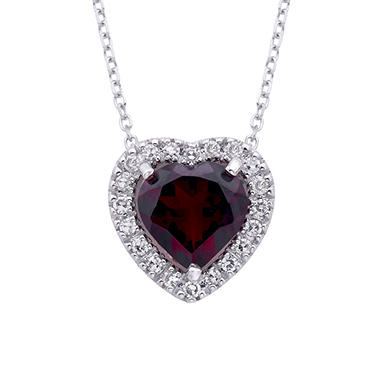 Heart-Shaped Garnet and Diamond Pendant in 14K White Gold (I, I1)