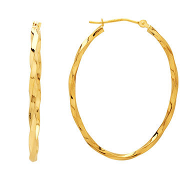 Twist, Oval Hoop Earrings in 14K Yellow Gold