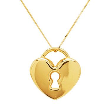 Heart Lock Pendant on 18