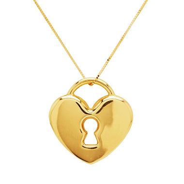 "Heart Lock Pendant on 18"" Box Chain in 14k Yellow Gold"