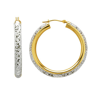 Love, Earth 4 x 35mm Crystal Cut Hoop Earrings in Sterling Silver and 14K Yellow Gold