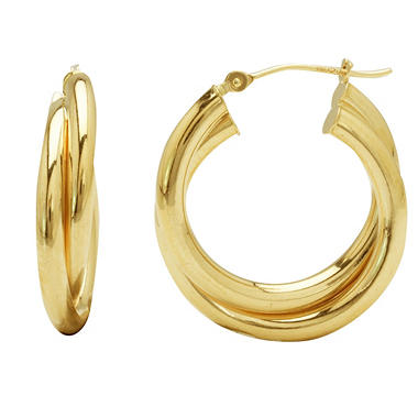 2.8 x 23mm Double Hoop Earrings in 14K Yellow Gold