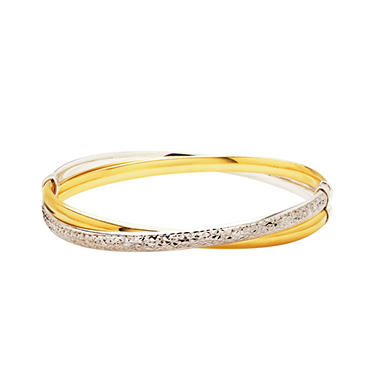 Love, Earth 3/16ths Crystal Cut, Cross-over Bangle in Sterling Silver and 14K Yellow Gold