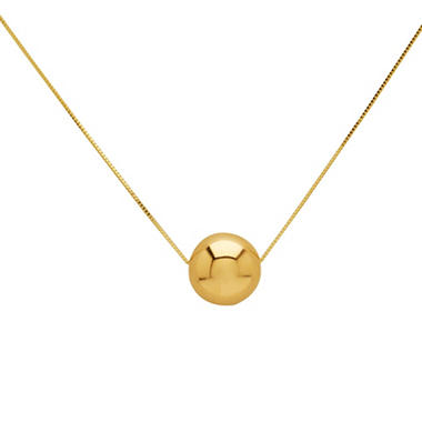 "12mm Bead Pendant on 18"" Box Chain in 14K Yellow Gold"
