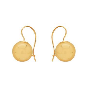 12mm Bead Earrings in 14K Yellow Gold