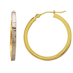 2 x 2 x 25mm Square Tube Hoop Earrings in 14K Two-Tone Gold