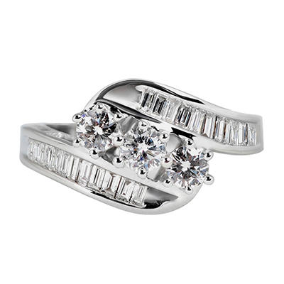 1.0 ct. t.w. Round and Baguette Diamond Ring in 14K White Gold