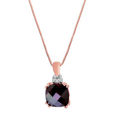 Cushion Cut Garnet and Diamond Accent Pendant in 14K Rose Gold (I, I1)