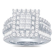 3.0 CT. T.W. Princess, Round and Baguette Diamond Ring in 14K White Gold I, I1 (IGI Appraisal Value: $4,070)