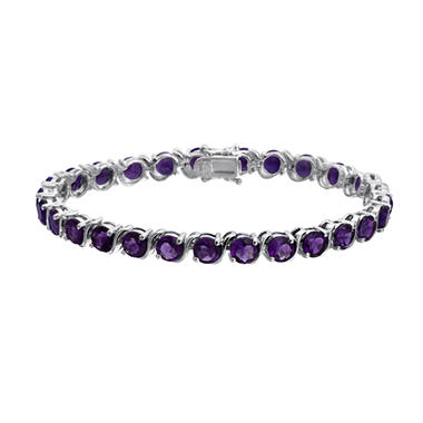 Round Amethyst Bracelet in Sterling Silver