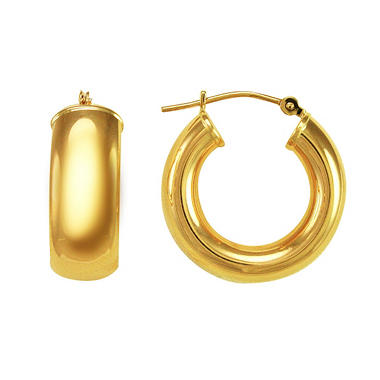 Wedding Band Hoop Earrings in 14k Yellow Gold - 20mm
