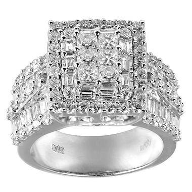 3.0 ct. t.w. Princess, Round and Baguette Diamond Ring in 14K White Gold