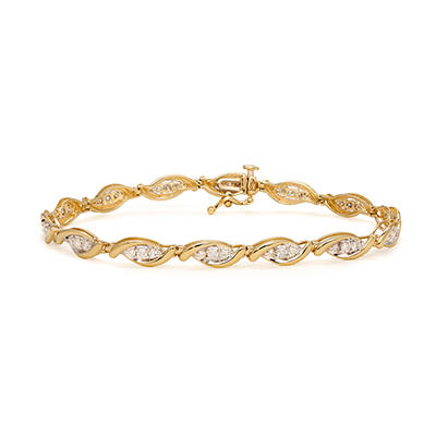 1.00 CT. T.W. Marquise-Shaped 3-Stone Design Diamond Tennis Bracelet in 14K Yellow Gold (I, I1)
