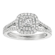 1.00 CT. T.W. Princess-Cut Diamond Engagement Ring 14K White Gold (I, I1)