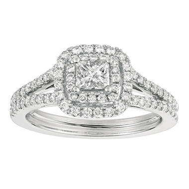 1.00 CT. T.W. Princess-Cut Diamond Engagement Ring 14K White Gold (I, I1)