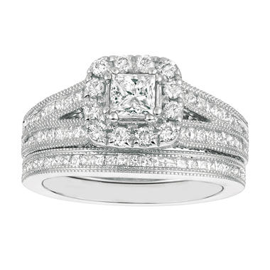 1.75 CT.T.W. Princess-Cut Diamond Bridal Set 14K White Gold (I, I1)