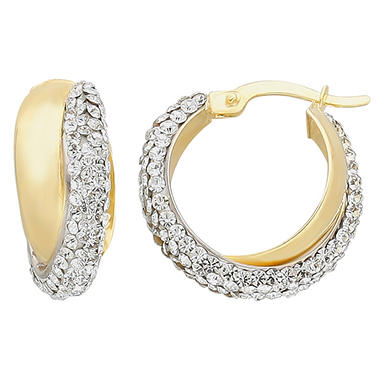 Love, Earth Genuine Swarovski Crystal Criss Cross Earring in Sterling Silver and 14K Yellow Gold