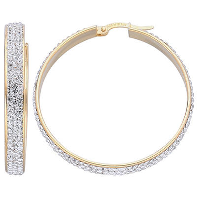 Love, Earth Genuine Swarovski Crystal Large Hoop Earring in Sterling Silver and 14K Yellow Gold
