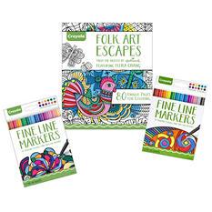 Crayola Folk Art Coloring Book and Markers Bundle