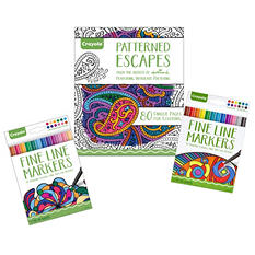 Crayola Patterned Escapes Coloring Book and Marker Bundle
