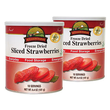 Augason Farms Food Storage Freeze Dried Strawberries - 2 pk.
