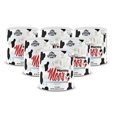 Augason Farms Morning Moo's Low Fat Milk Alternative - #10 cans - 6 pk.