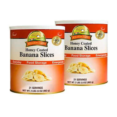 Augason Farms Food Storage Honey Coated Banana Slices - 2 pk.