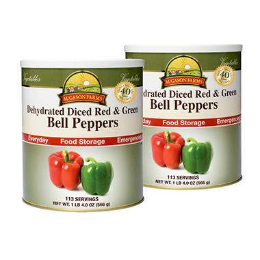 Augason Farms Dehydrated Diced Red & Green Bell Peppers - #10 cans - 2 pk.